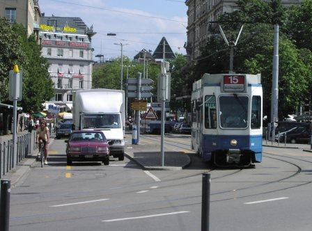 Zurich tram given priority over traffic on Limmatquai.