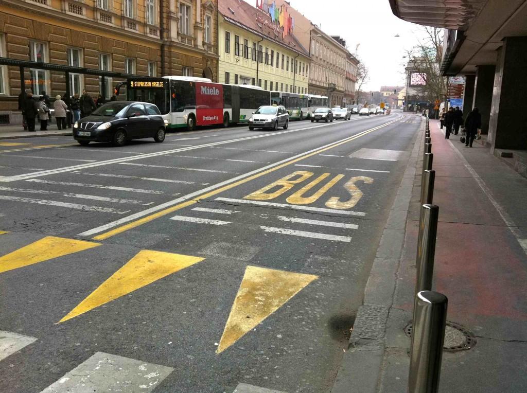 Photo of a bus lane in Ljubljana.