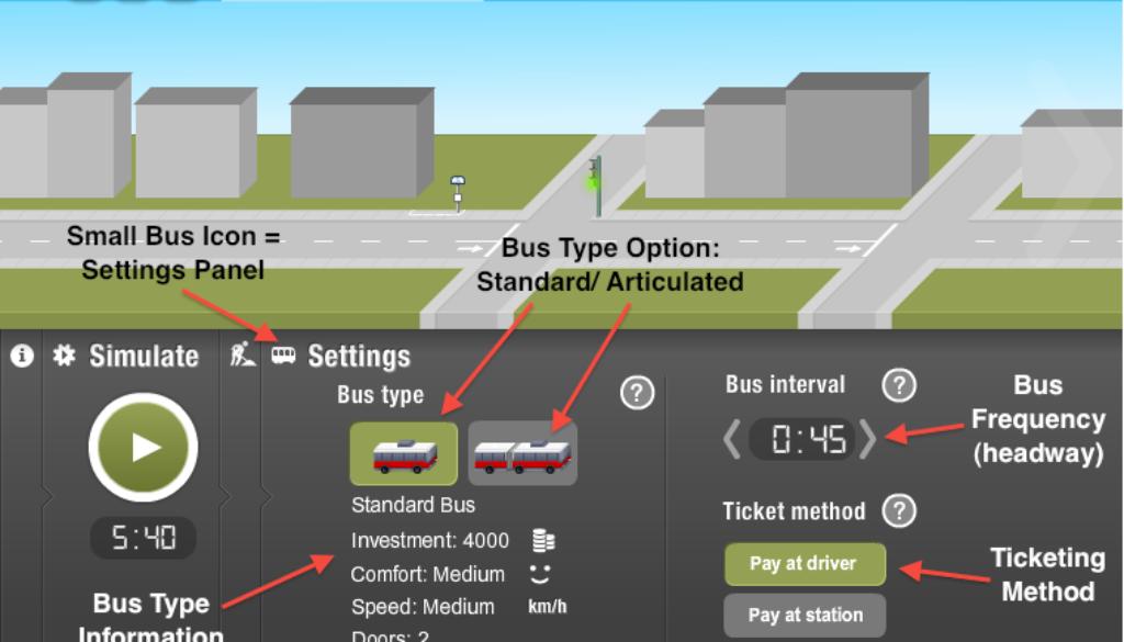 BusMeister: Settings panel