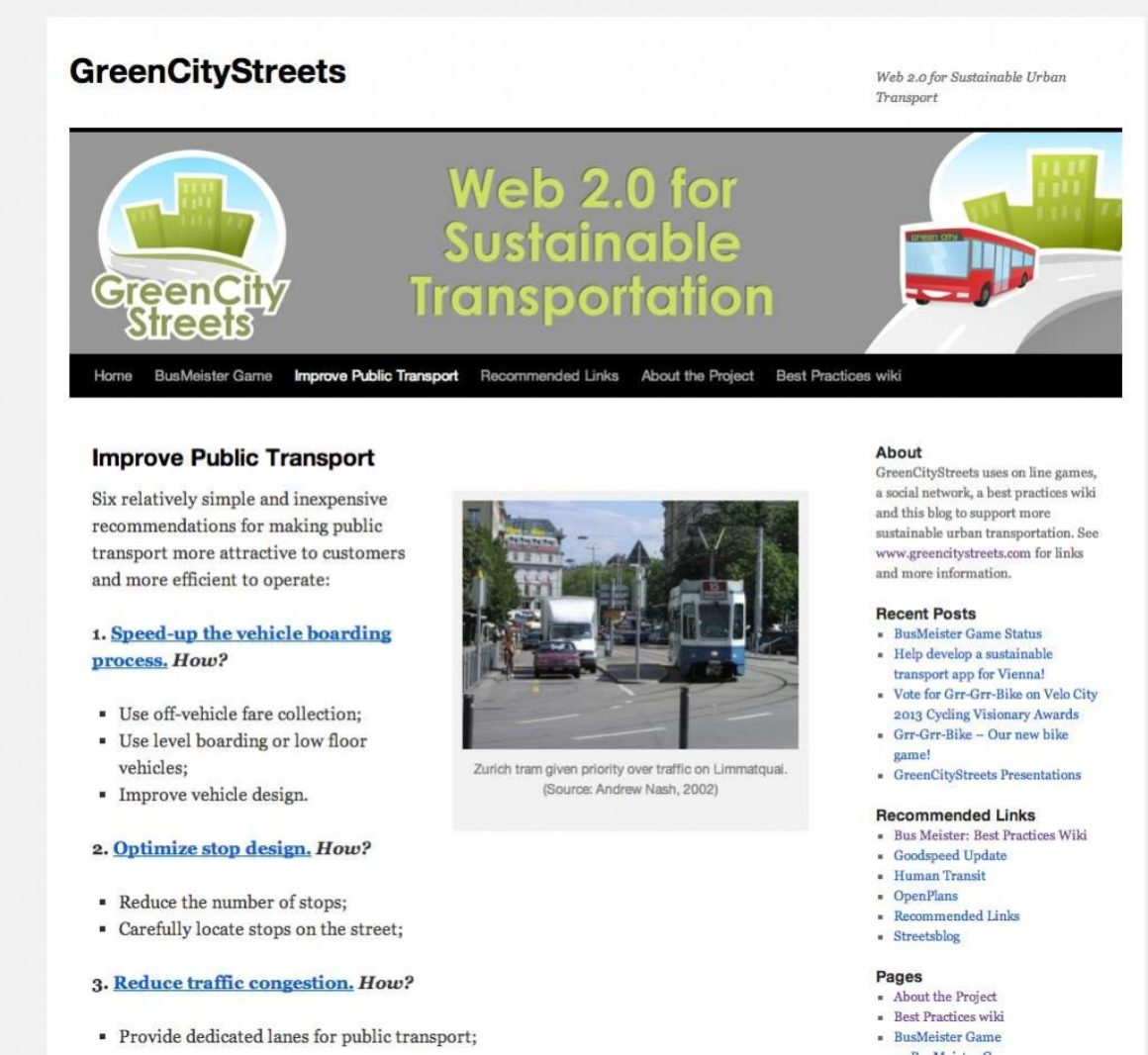 Improve Public Transport Word Press based website homepage.