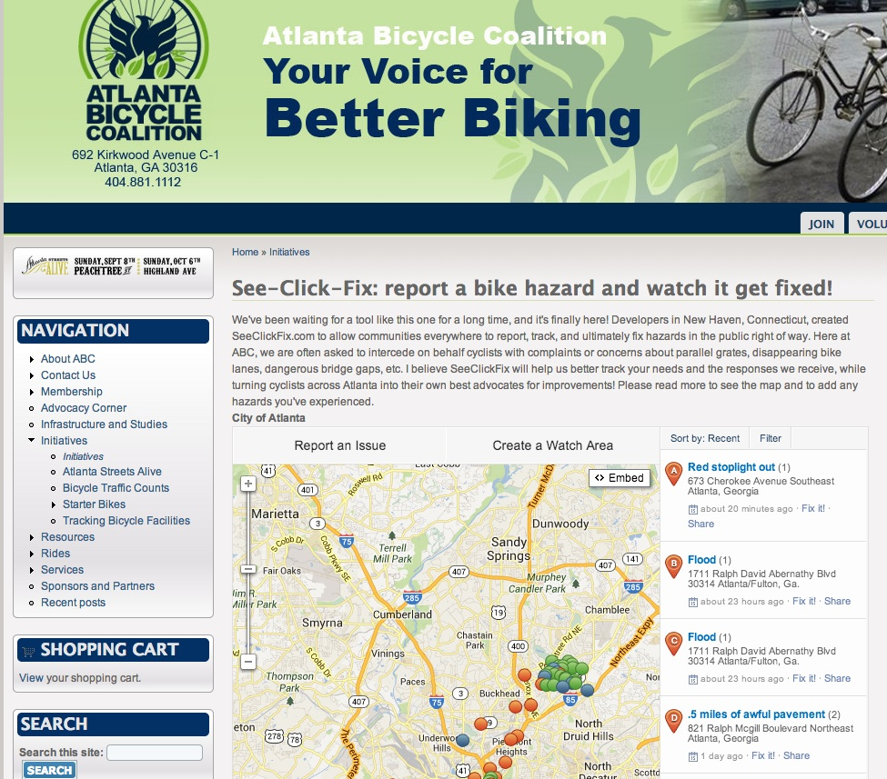 SeeClickFix integrated into Atlanta Bike Coalition website