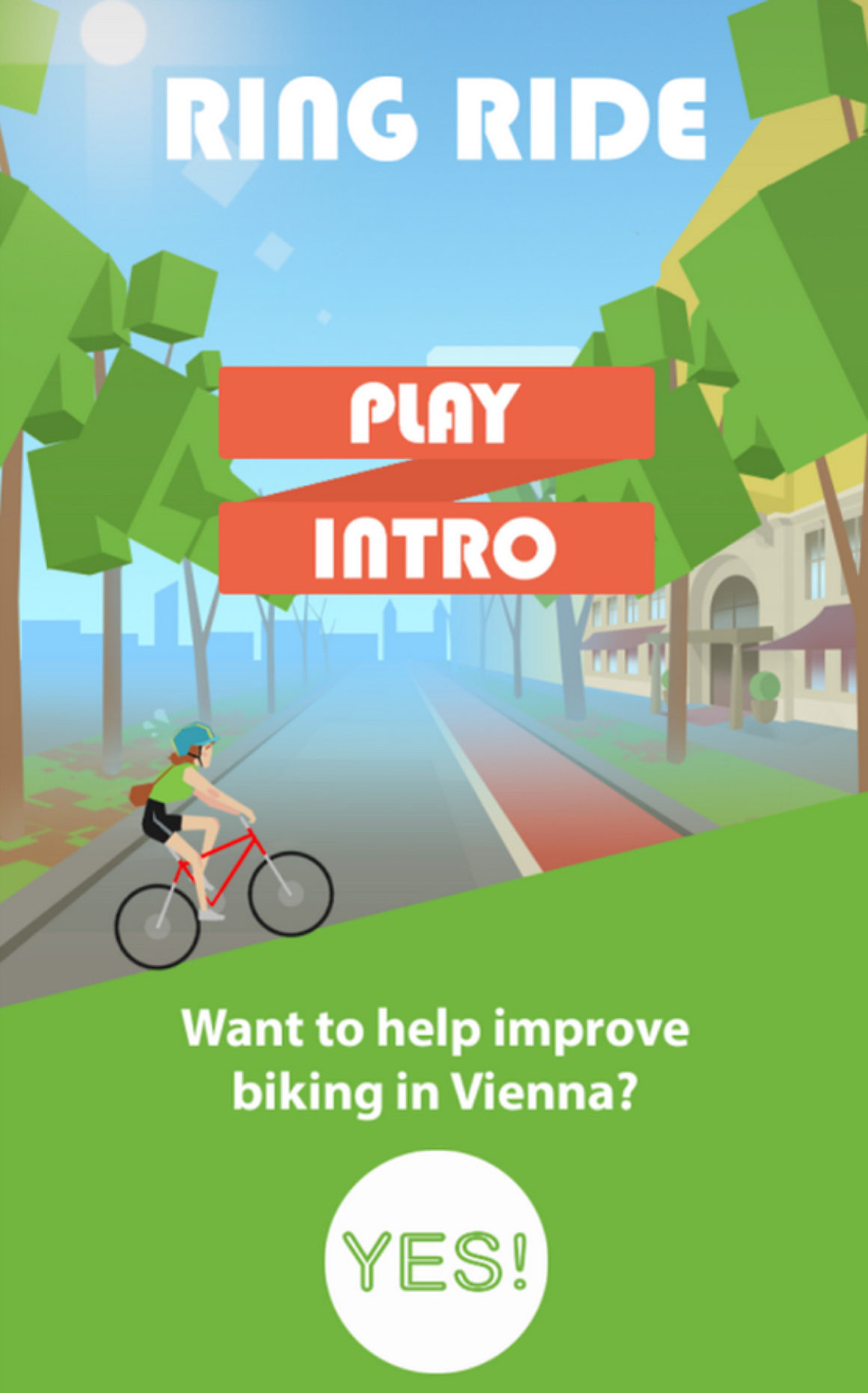 Ring Ride Game screenshot showing website link button.
