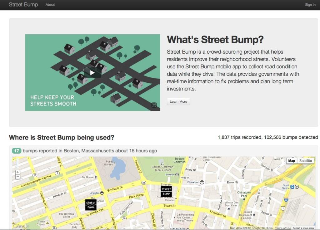 Street Bump homepage screenshot