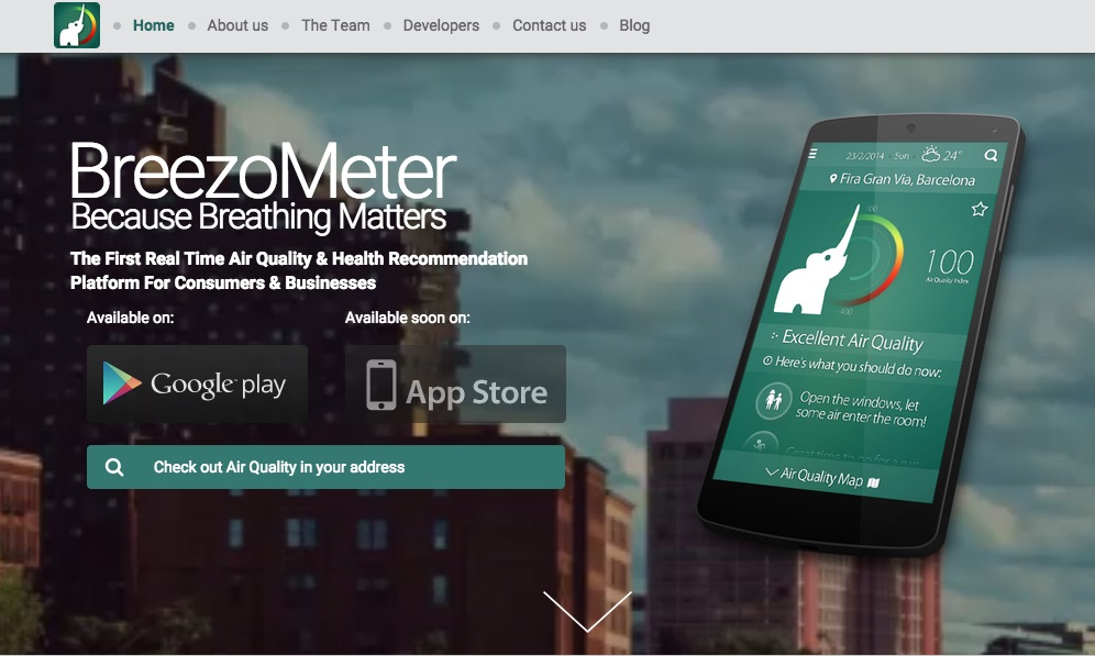Screenshot BreezoMeter homepage