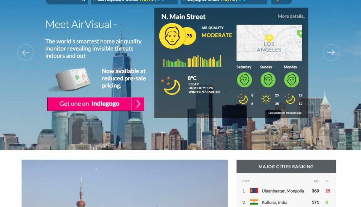 Air Visual homepage screenshot (13 February 2016)