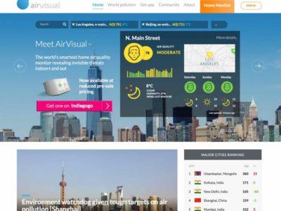 Air Visual homepage screenshot (13 February 2016)