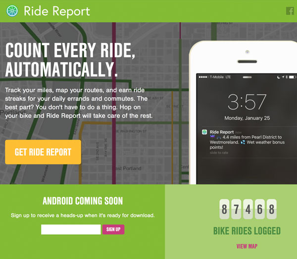 Ride Report bicycling app