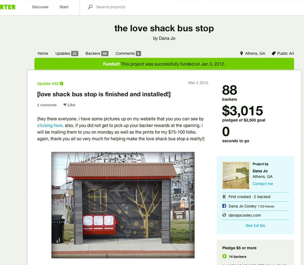 Screenshot: Love Shack Bus Shelter on Kickstarter