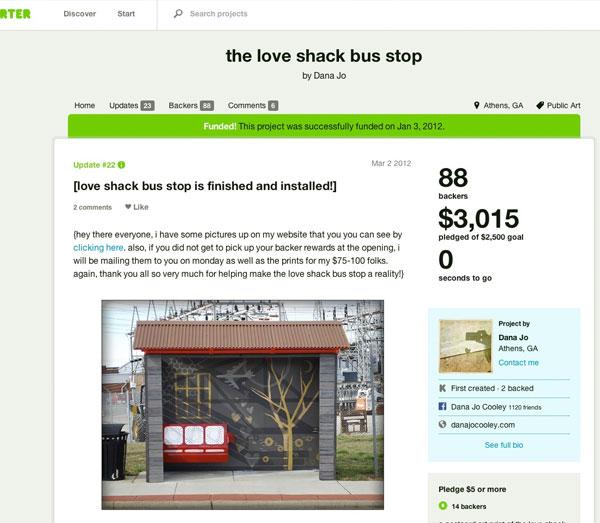 Screenshot: Love Shack Bus Shelter on Kickstarter