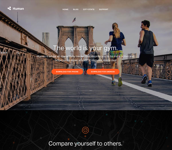 Human fitness app homepage screenshot