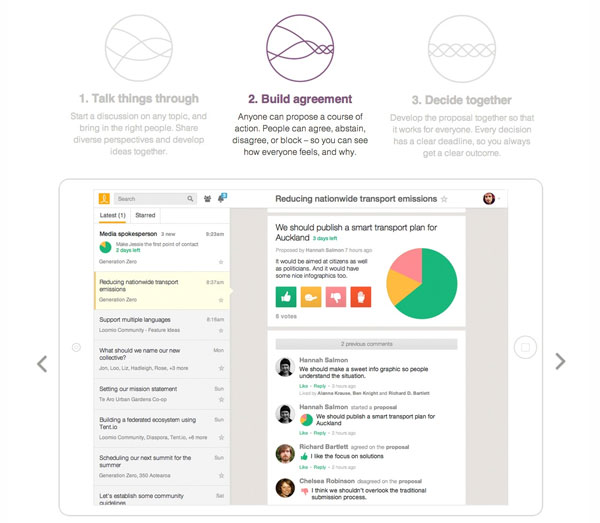screenshot: Loomio public process collaboration application