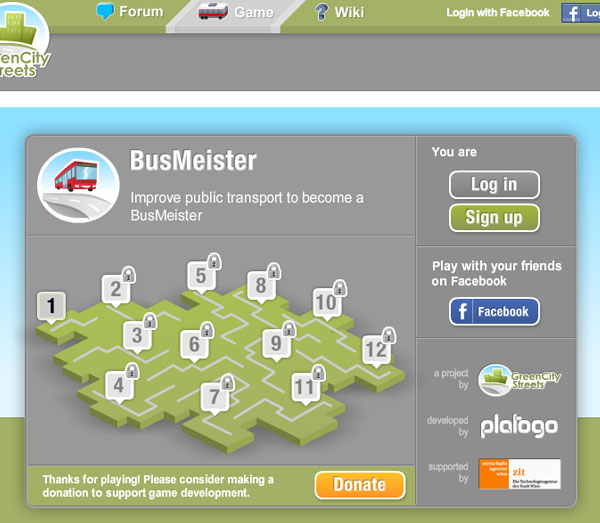 BusMeister starting screen showing game levels.