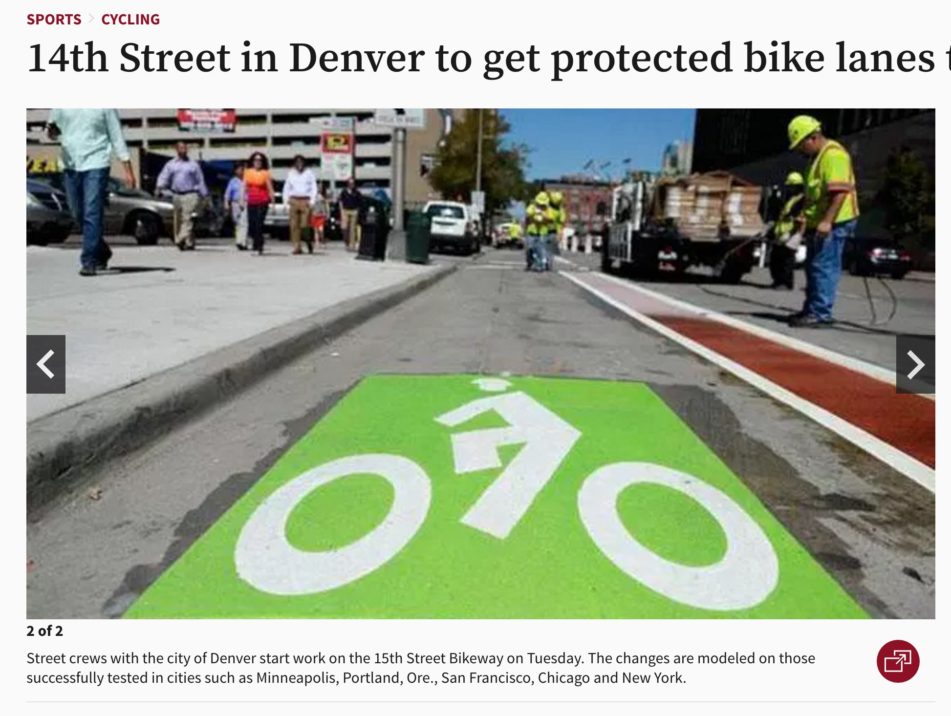 Denver's 15th Street Bikeway was partly funded via a crowdfunding campaign.