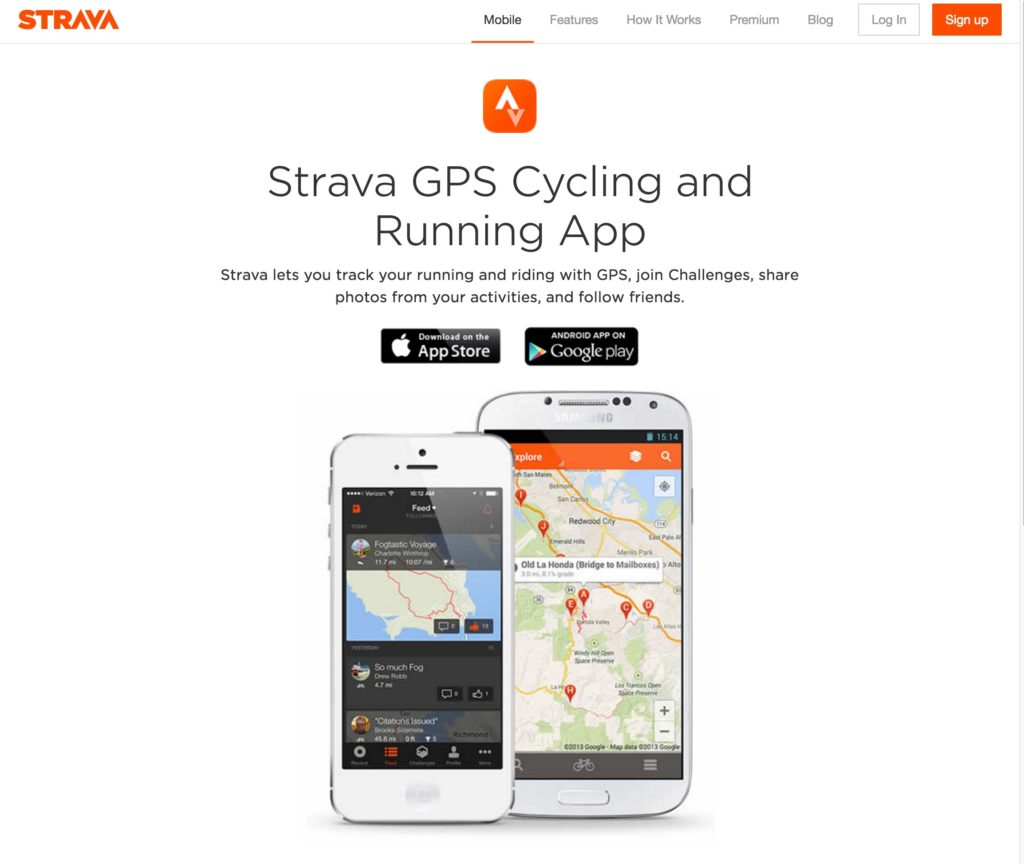 Strava App homepage screenshot