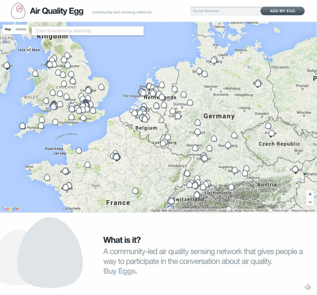 screenshot: Air Quality Egg homepage with map of sensor locations.