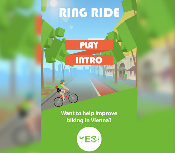 screenshot: RingRide mobile phone game intro screen