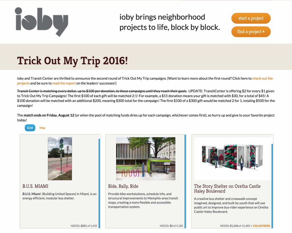 Screenshot: ioby Transit Center Trick Out My Trip 2016