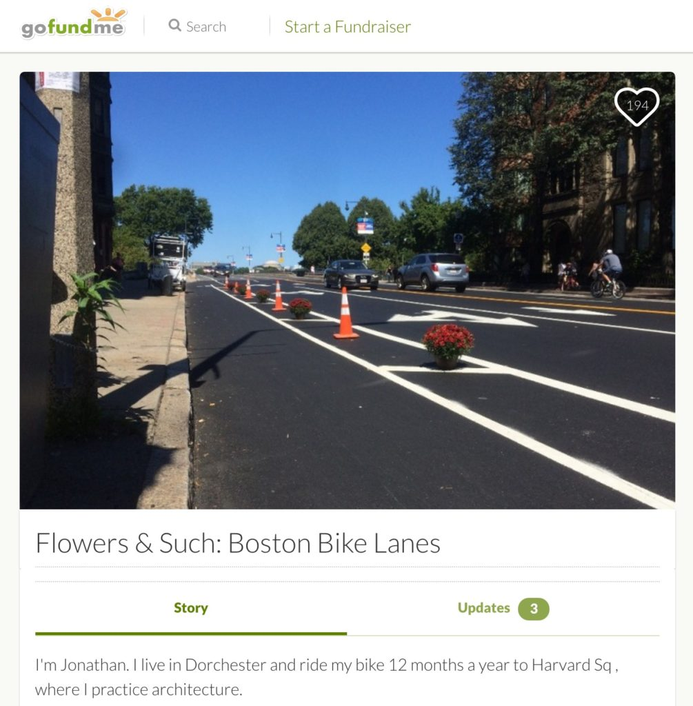 Crowdfunding campaign for adding improvements to bike lanes in Boston.