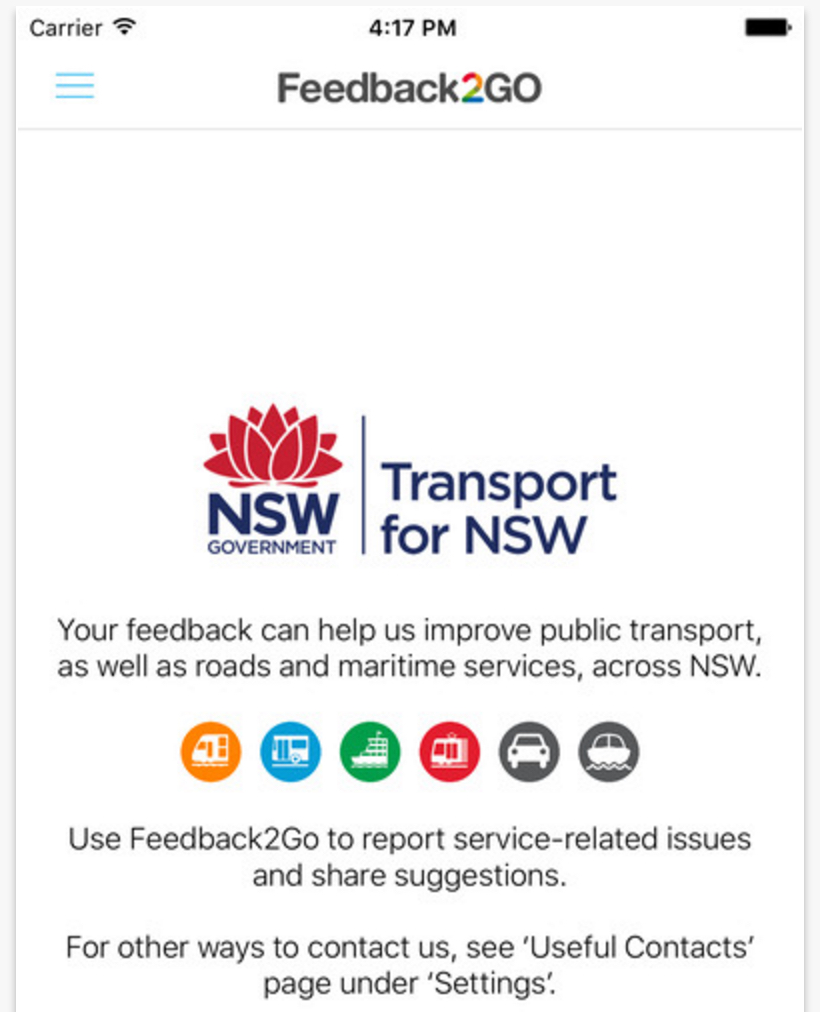 Screenshot: Feedback2Go - Transport for NSW