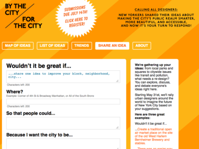 Screenshot of the By the City/For the City web application.