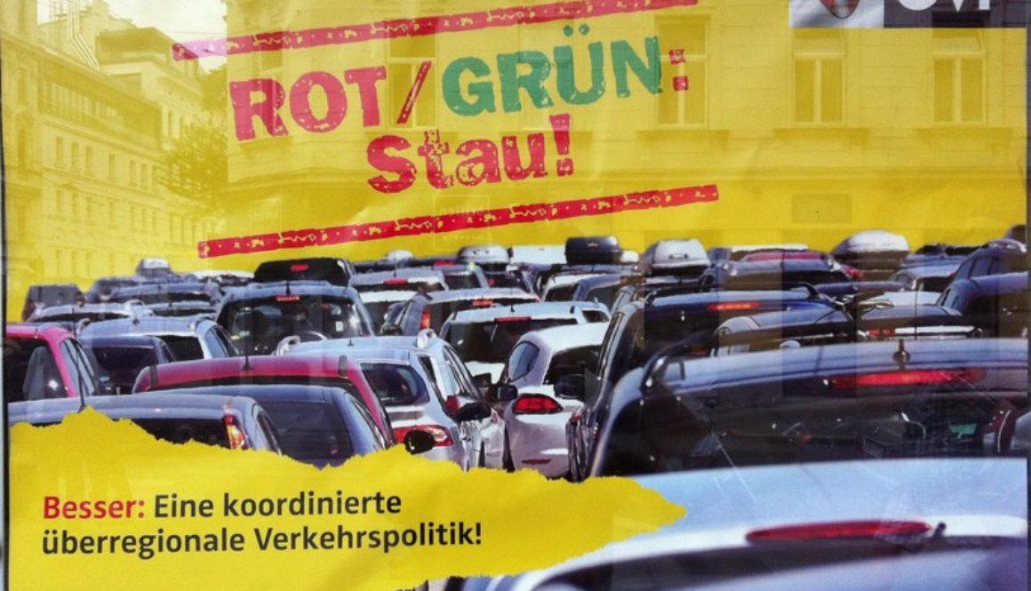 Rot-Grun Stau Vienna political poster
