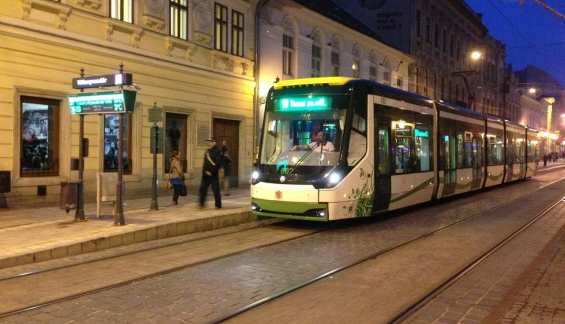 Green Line tram in Miskolc Hungary.