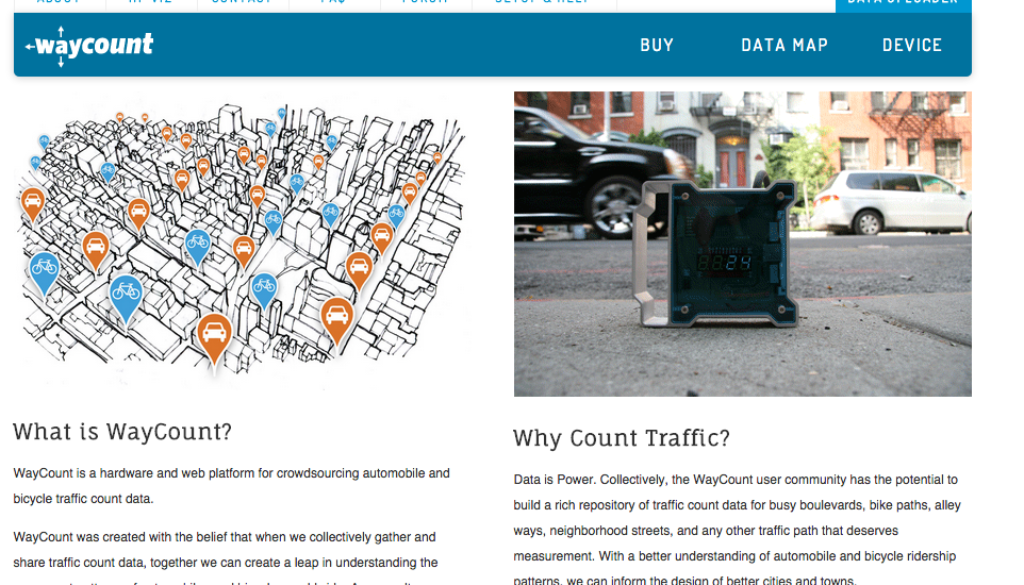 WayCount traffic counting sensor homepage - November 2014.
