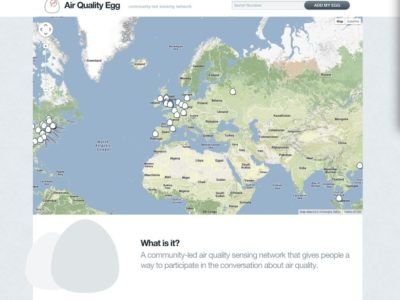 Air Quality Egg home page map showing sensor locations.