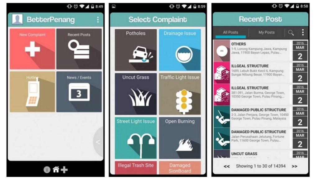 #BetterPenang app screenshots from GovInsider 2 Mar 2016.